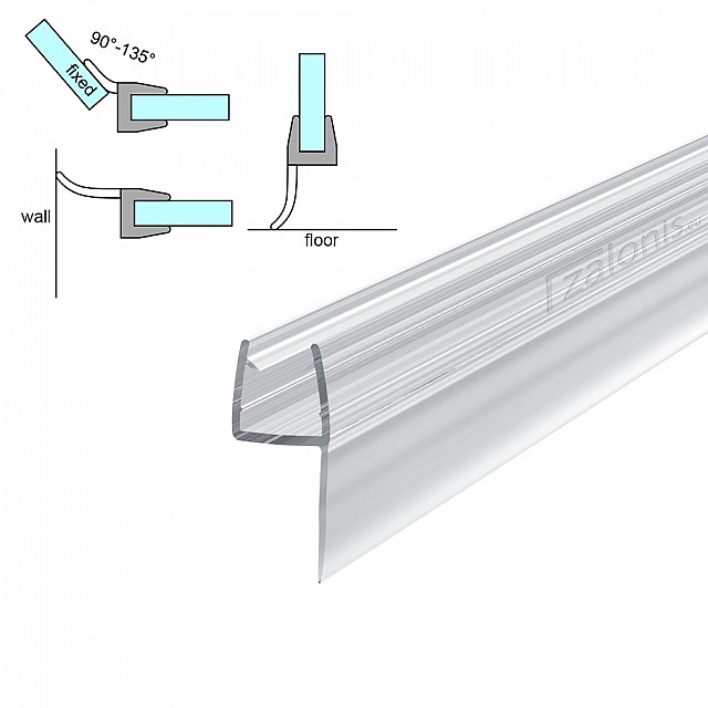 h SHAPED SHOWER SEAL FOR 8-10mm GLASS